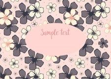 Vector шаблон с цветочным узором с розовыми цветками вишневого цвета на розовой предпосылке Стоковая Фотография RF