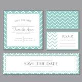 Vector шаблон для wedding карточки приглашения с нашивками Сохраньте дату и RSVP Нежная мята и серые цвета Стоковая Фотография