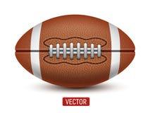 Vector шарик американского футбола или рэгби изолированный над белой предпосылкой Стоковые Изображения RF