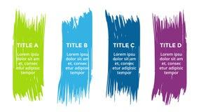 Vector щетка infographic, диаграмма, ярлыки диаграмма brushstroke, представление стикеров Концепция дела с 4 вариантами иллюстрация вектора