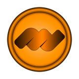 Vector эмблема иллюстрации оранжевая круглая с трехмерной выпушкой на белой предпосылке с абстрактным объемным символом внутрь Стоковые Фотографии RF