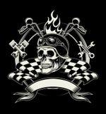 Vector эмблема велосипедиста с черепом или мертвым мотоциклом Стоковое фото RF