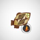 Vector эскиз зажаренных рыб на плите Стоковые Изображения RF