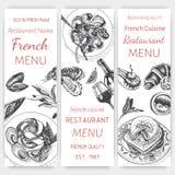 Vector эскиз иллюстрации - завтрак-обед меню карточки завтрака винтажный шаблон дизайна, знамя иллюстрация штока