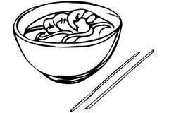 Vector эскиз китайских лапшей с креветкой и палочками иллюстрация вектора