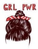 Vector эскиз пачки волос ` s женщины с grl pwr надписи стоковые фото