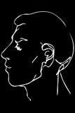Vector эскиз стороны красивого молодого человека Стоковая Фотография