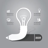 Vector электрическая лампочка с концепцией значка карандаша идеи Конструкция Стоковое Фото