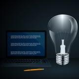 Vector электрическая лампочка с infographic элементами и картой мира, для дизайна Стоковое Изображение