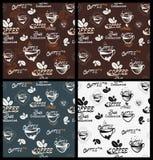 Vector элементы кофе иллюстрации, чашки, кружки, фасоли и типы литерности нарисованные рукой Стоковое Фото