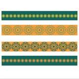 Vector элементы фольклорного оформления с желтыми и зелеными цветками Стоковые Изображения RF