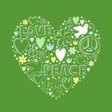 Vector элементы doodle на теме влюбленности и мира в форме сердца Стоковые Фотографии RF