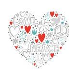 Vector элементы doodle на теме влюбленности и мира в форме сердца Стоковое Изображение