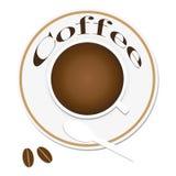 Vector элемент логотипа дела значка кофе взгляд сверху иллюстрации ультрамодный плоский иллюстрация вектора