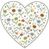 Vector элемент сердца с цветками и колокольчиками маргаритки внутрь Стоковое Фото