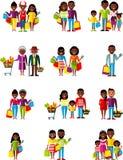 Vector люди иллюстрации Афро-американские, семья в магазине Стоковое фото RF