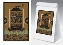 Vector ярлык и бумажная упаковка для кофейных зерен бесплатная иллюстрация