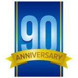 Vector ярлык для девятидесятой годовщины с большими числами на голубой предпосылке Стоковое Изображение