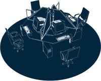 Vector 01 de la oficina del lugar de trabajo stock de ilustración