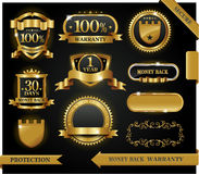 Vector 100% satisfaction guaranteed label. And protection sign Stock Photos