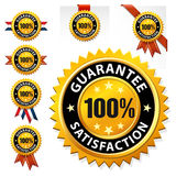 Vector 100% satisfaction guaranteed label or sign Stock Images