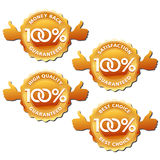 Vector 100% satisfaction guaranteed labels. Gold labels of 100% satisfaction guaranteed. Vector illustration Stock Images