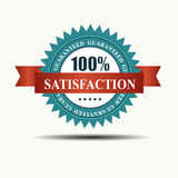 Vector 100% satisfaction guaranteed retro label. With red ribbon Vector Illustration