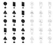 Разные виды дорожных знаков черных, значков плана в установленном собрании для дизайна Вектор знаков предупреждения и запрета иллюстрация штока