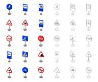 Разные виды мультфильма дорожных знаков, значки плана в установленном собрании для дизайна Вектор знаков предупреждения и запрета бесплатная иллюстрация