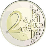 Vector 2 euro coin. Vector illustration currency 2 euro coin. Filled with solid colors only Royalty Free Stock Photos