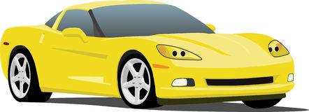 Vector 2006 Corvette. A Yellow Chevrolet Corvette eps saved in layers for easy editing. See my portfolio for more automotive images vector illustration