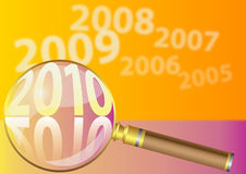 Vector 2010 background. Vector 2010 colorful background with magnifier Stock Photos