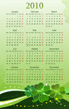 Vector 2010 calendar for St. Patricks Day. Vector illustration of 2010 calendar for St. Patricks Day, starting from Mondays stock illustration
