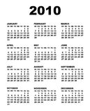Vector 2010 calendar template. (Arial black font over white background Stock Image
