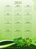 Vector 2011 calendar for St. Patricks Day. Vector American 2011 calendar for St. Patricks Day, starting from Sundays Stock Photos