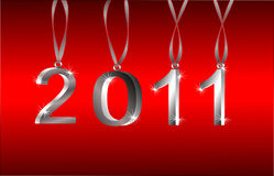 Vector 2011 New Year Ornaments. 2011 Sparkling Silver Hanging Ornament 3d Numbers On Red Background. Vector is also available Vector Illustration