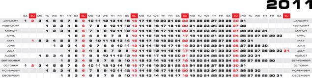 Vector 2011 year calendar. Month in a column, weekdays aligned horizontally Royalty Free Illustration