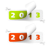 Vector 2012 / 2013 new year stickers. Green and red royalty free illustration