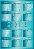 Vector 2012 Calendar. Vector blue 2012 year Calendar Stock Photo