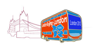 Vector of the 2012 London Olympic bus. Vector of the London Olympic Games bus, car body painted logo Olympic Games,the background is the London Bridge line draft Stock Images