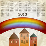 Vector 2013 calendar. 2013 calendar on abstract background with rainbow and old houses, crumpled paper texture royalty free illustration