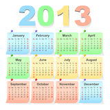 Vector 2013 calendários, começos da semana com domingo Fotos de Stock
