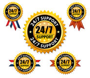 Vector 24/7 support sign, service label Royalty Free Stock Images