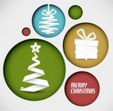 Vector украшение рождества сделанное от нашивок белой бумаги в кругах Стоковое Изображение RF
