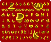 Vector 3D Alphabet & Number. Isolated on red background Royalty Free Stock Photo