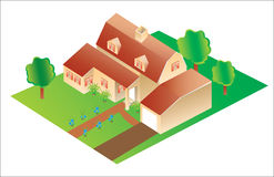 Vector 3d big house. 3d big house with garden royalty free illustration