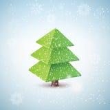 Vector 3d christmas tree. Origami vector christmas tree - original new year card Stock Photos