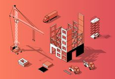 Free Vector 3d Isometric Construction Concept, Building Exterior Stock Images - 127128344