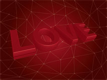 Vector 3d love text on red background. Stock Image