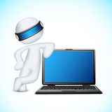 Vector 3d Man with Notebook. Illustration of 3d man in vector fully scalable standing with notebook Stock Photos